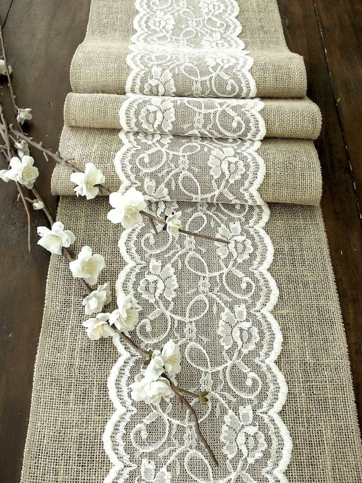 wedding table runner with ivory lace rustic chic christmas table r