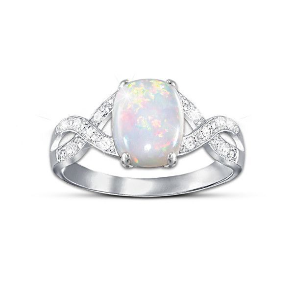 Women s Australian Opal Ring With 12 Diamonds