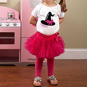 "Ahh! I LOVE this! It's PMall's ""Wicked Cute!"" Fuchsia Tutu Petti skirt and Personalized Halloween Witch's Hat Shirt - ADORABLE! Perfect for a cute Halloween costume!"