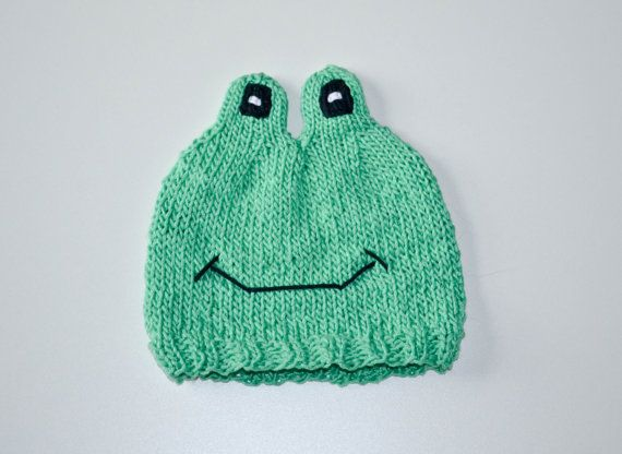 Knitting Pattern For Frog Hat : Knit Frog Baby Hat Pattern