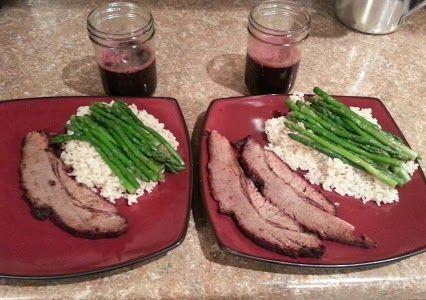 carb meal: steak, asparagus, long grain brown rice, and super veggie ...