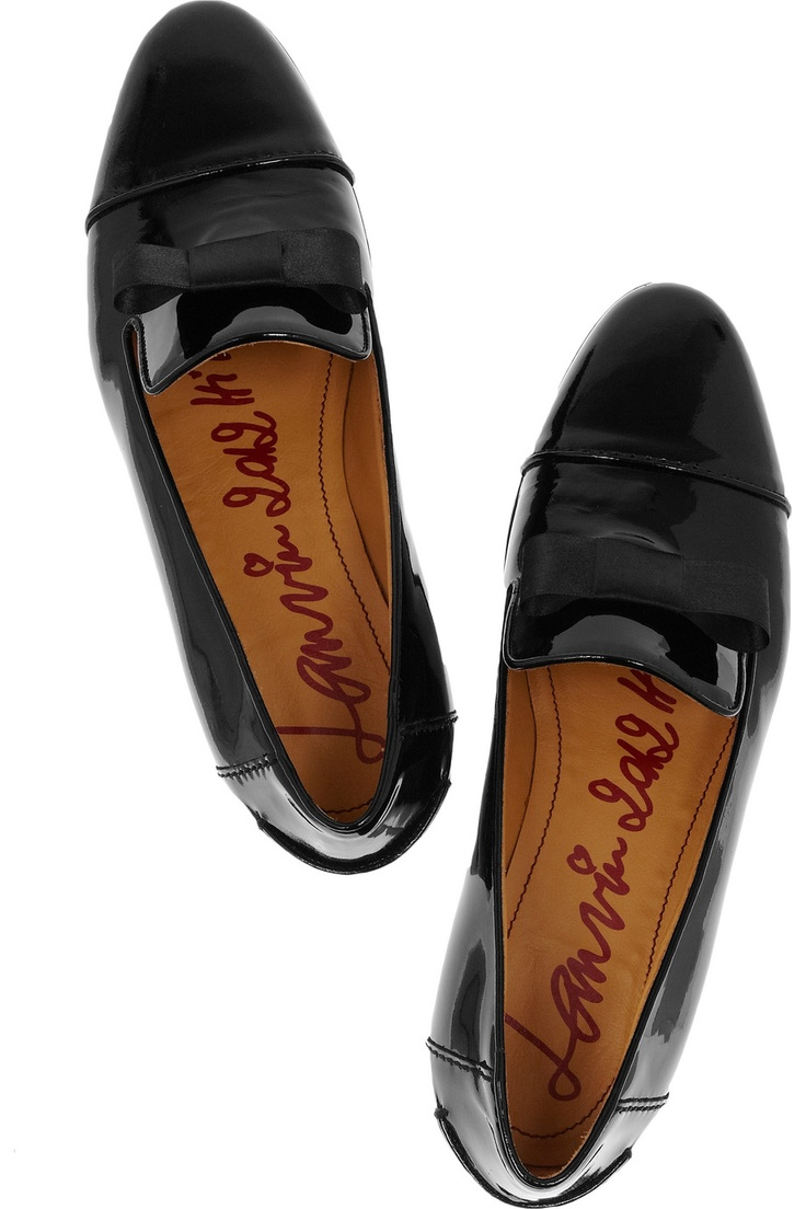 LANVIN  Bow-embellished patent-leather loafers