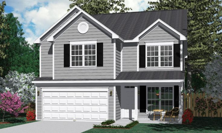 Pin by southern heritage home designs on two story house for 2 1 2 car garage square footage