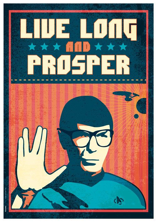Star Trek Quote Spok Vulcan salute LIVE Long and by PeanutoakPrint,
