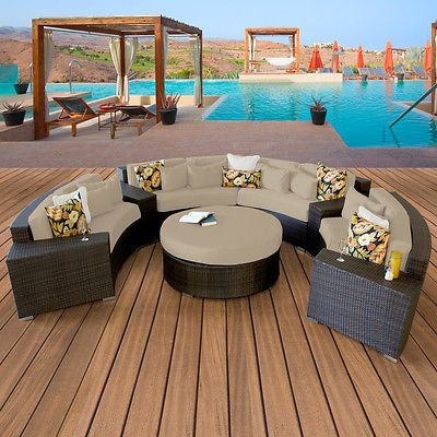 Miami Outdoor Furniture : Miami New Modern Outdoor Wicker Patio 7 Piece Furniture Set Sand Free ...