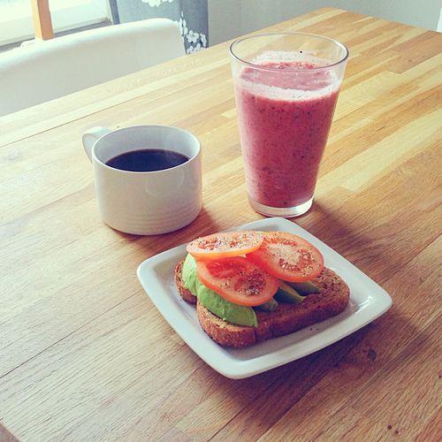 ... whole grain bread, dijon, avocado, tomato and black pepper! And coffee