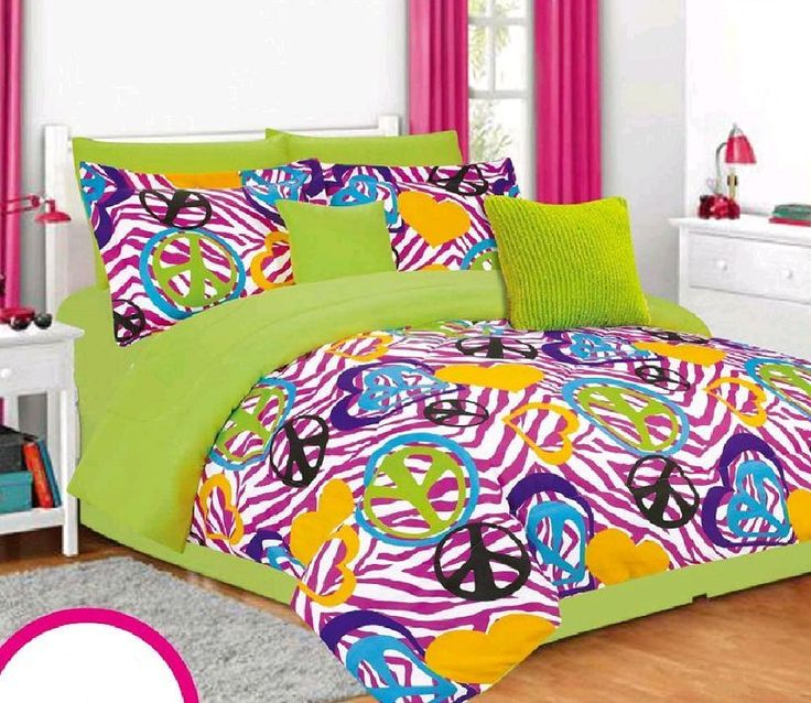 Girls Twin Bedding Set Lime Green Pink Zebra Peace Signs