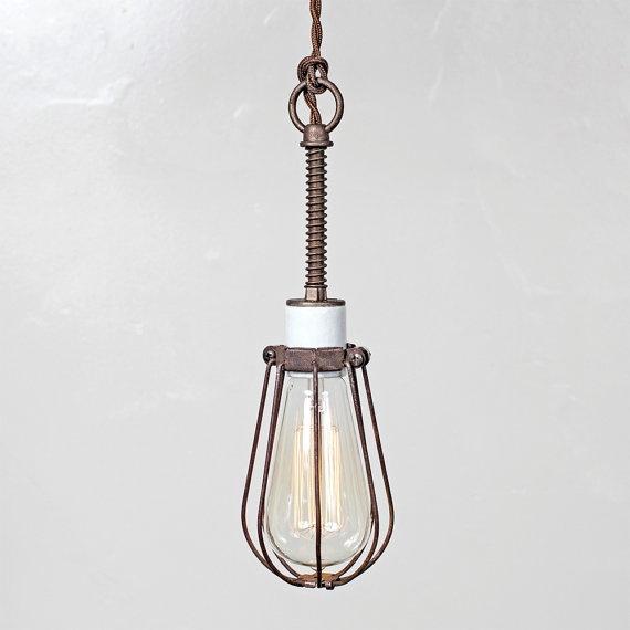 oval bulb cage light pendant light industrial hanging. Black Bedroom Furniture Sets. Home Design Ideas