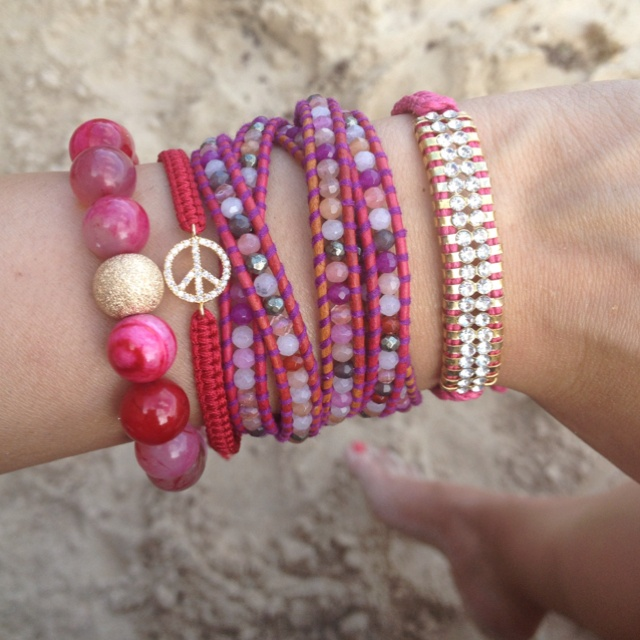 Pink arm party! I'm having so much fun playing with bags full of beautiful jewelry.. More to come!