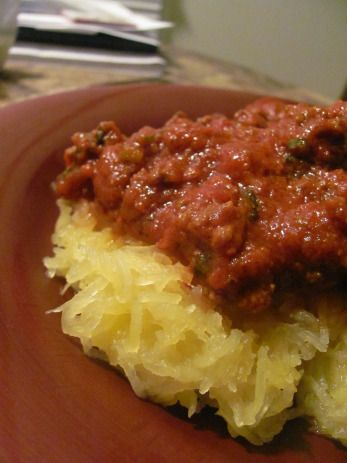 Spaghetti squash with meat sauce | Yum! | Pinterest
