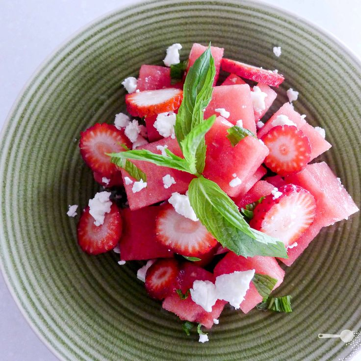 ingredient watermelon, strawberry and feta salad