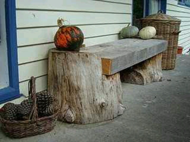 Bench made with tree stubs diy pinterest for Tree trunk garden bench