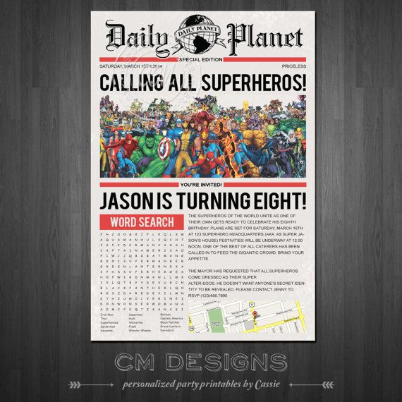 Superhero/Newspaper Birthday Invite With or Without Word ...