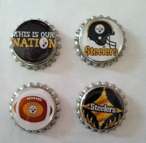 Pittsburgh Steelers Bottle Cap Magnets  Set of by WhimsyWoodcrafts, $4.50