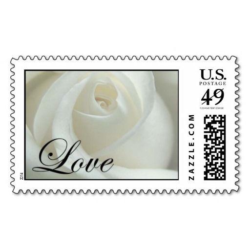 Love Rose Wedding Invitation Postage Stamps Custom