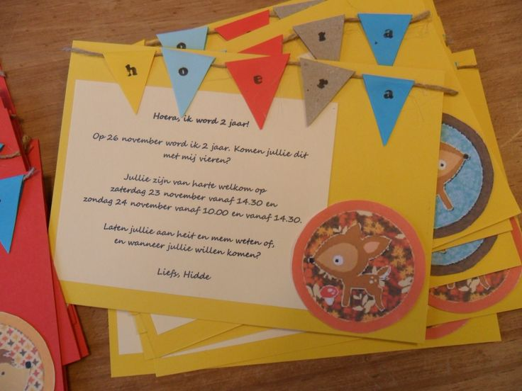 happy birthday woodland party invitation uitnodiging met bosdieren