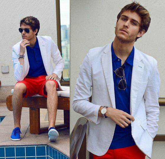 White Blazer, Blue Shirt, Aviators, Hot Orange Shorts, Daniel Wellington Watch, Shoes