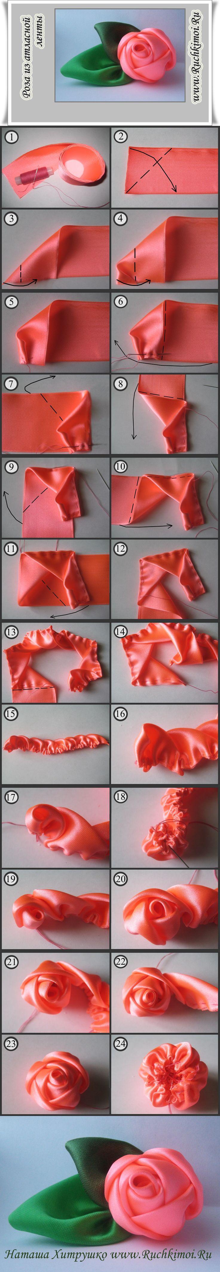 Как сделать роза из ленты пошаговое