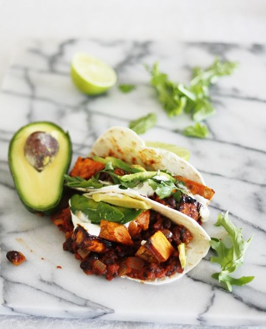 ... and tasty soft tacos with maple chilli roast sweet potato, spicy
