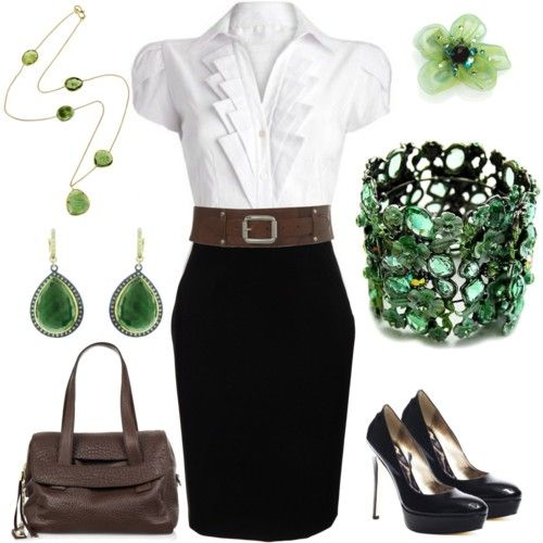 Beautiful green office outfit with brown