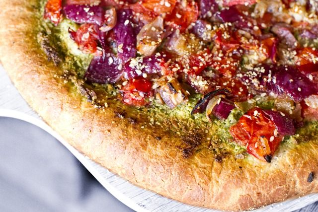 basil pesto pizza with ricotta grape tomatoes red onion and fresh ...