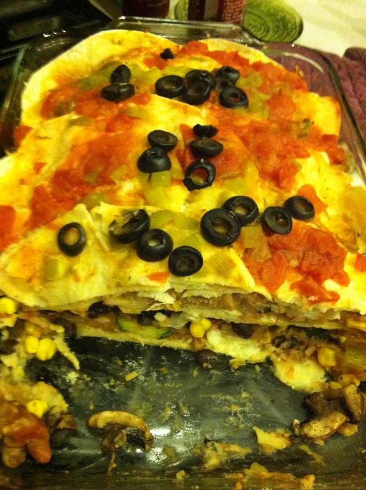 Super easy vegan Mexican lasagna 1/2 cup salsa verde Corn tortillas ...