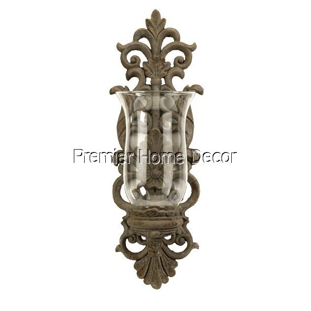 Old World Tuscan Hurricane Glass Wall Sconce Candleholder | Home Decor