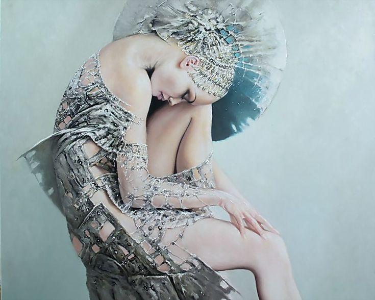 ... art, female, figure, girl, girls, gorgeous, grey, Karol Bak, painting