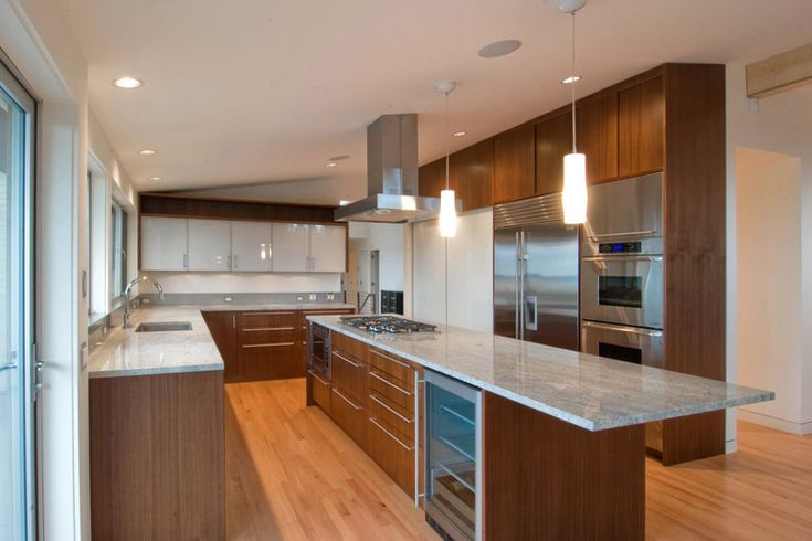 Great long narrow island wood cabinets kitchen ideas for Long narrow kitchen island ideas