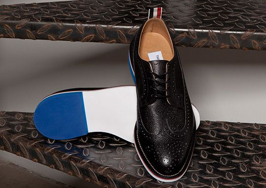 Thom Browne Black Pebble Wingtip Shoes