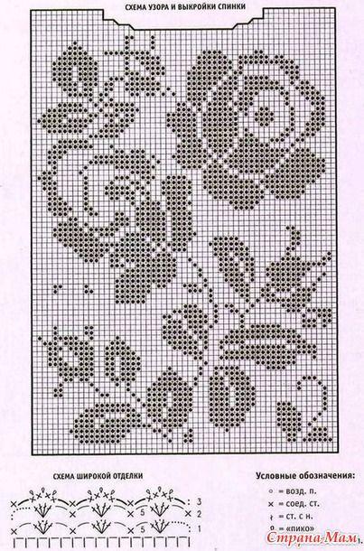 Филейное вязание летних кофточек схемы 962