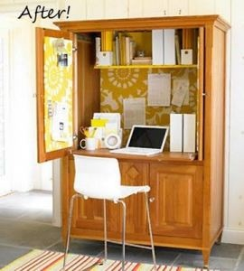 Yellow and white home office from old entertainment unit, via Pinterest
