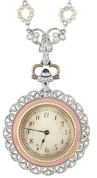 Enamel, seed pearl, and diamond pendant-watch. Belle Epoque, circa 1910. Via Diamonds in the Library.