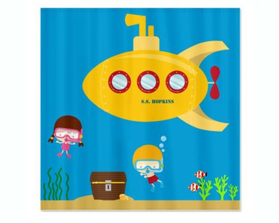 Deep sea kids personalized shower curtain yellow submarine ing