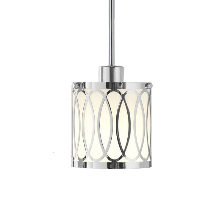 in w polished chrome mini pendant light with white shade at. Black Bedroom Furniture Sets. Home Design Ideas