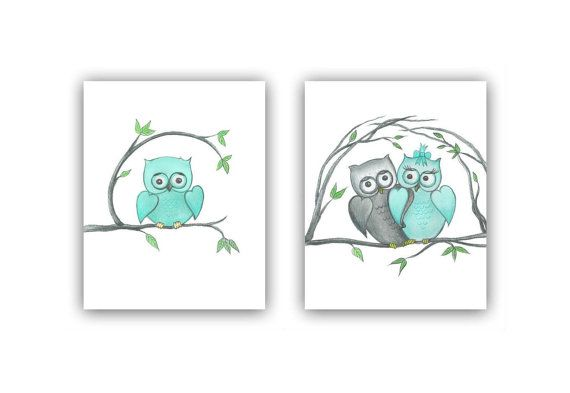 Baby Nursery Owls Wall Art SET OF 2 Art Prints Baby Boy Nursery Aq