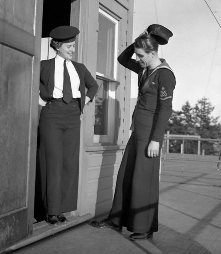 ... Navy (R.C.N.) comparing bellbottom trousers, Vancouver, British