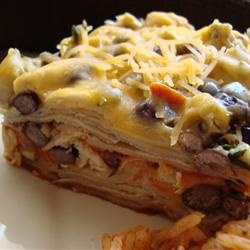 Layered Chicken and Black Bean Enchilada Casserole Allrecipes.com
