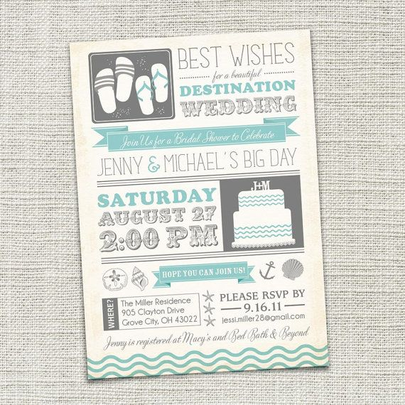 Bridal shower invitations bridal shower invitations for Electronic destination wedding invitations
