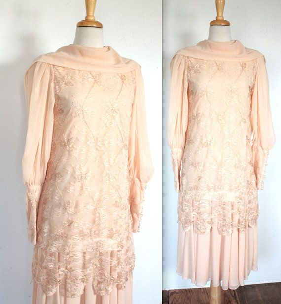 1970 s does 1920 s nude peach evening dress great gatsby style