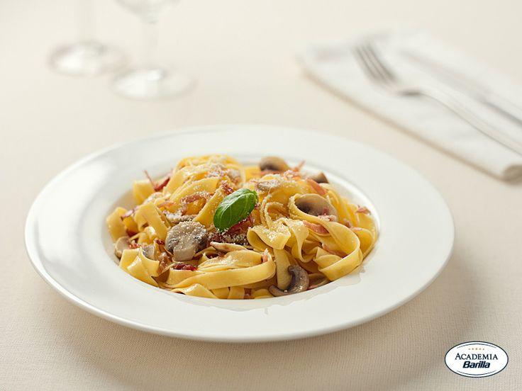 Fettuccine with Mushrooms and Prosciutto di Parma | Recipe
