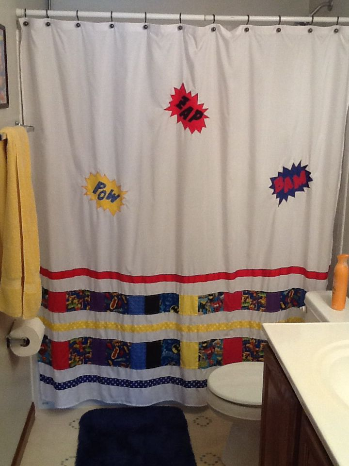Superhero shower curtain add hero fabric and ribbon to plain white