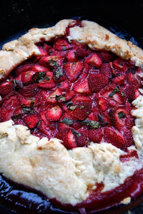 Strawberry Basil Tart with Avocado Ice cream | Recipe