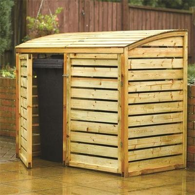 Double Bin Store Hide Screen Wooden Storage Wheelie Bins