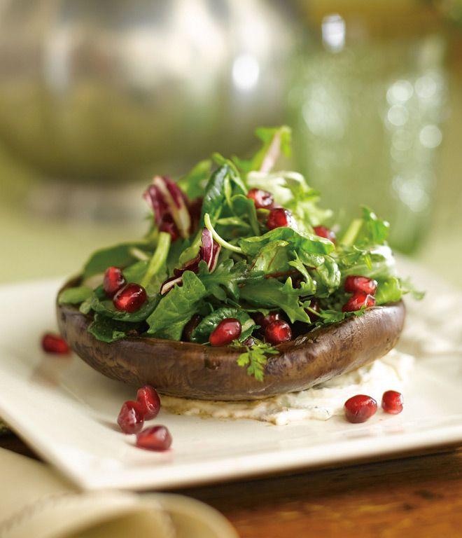 Grilled Portobello with Pomegranate Mustard Vinaigrette and Garden ...