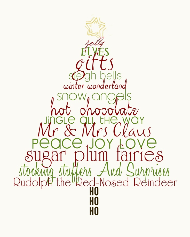 Christmas Tree Word Art Pinterest
