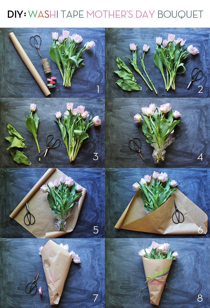Как оформить букет цветов своими руками 64