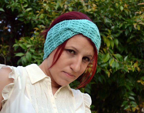 Crochet Hair Towel : Crochet turban in aqua hairband headband headwrap by ValkinThreads, $ ...