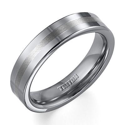 Triton Men's 5.0mm Comfort Fit Tungsten Stripe Wedding Band