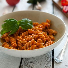 Delicious pasta sauce with fresh tomatoes, zucchini, and pepper. (in ...